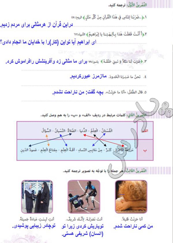 پاسخ تمرین های درس هشتم عربی هفتم