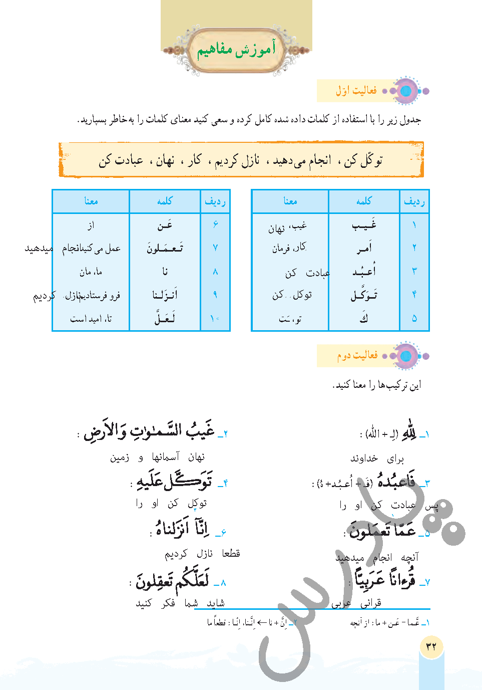 پاسخ فعالیت درس 3 قرآن هفتم - جلسه اول
