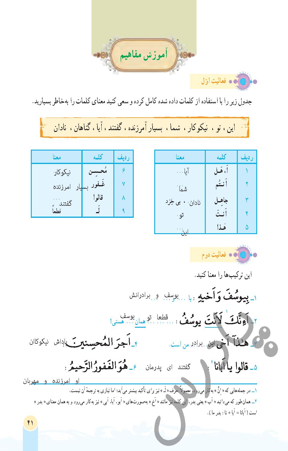 پاسخ فعالیت درس 4 قرآن هفتم- جلسه  اول