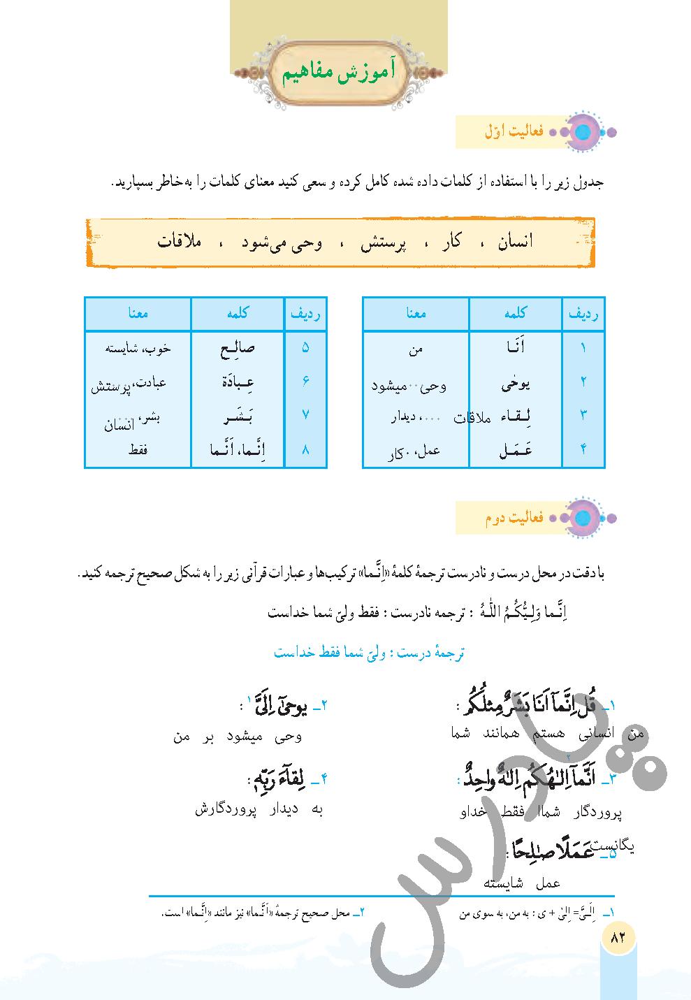 جواب فعالیت درس 9 قرآن هفتم - جلسه اول