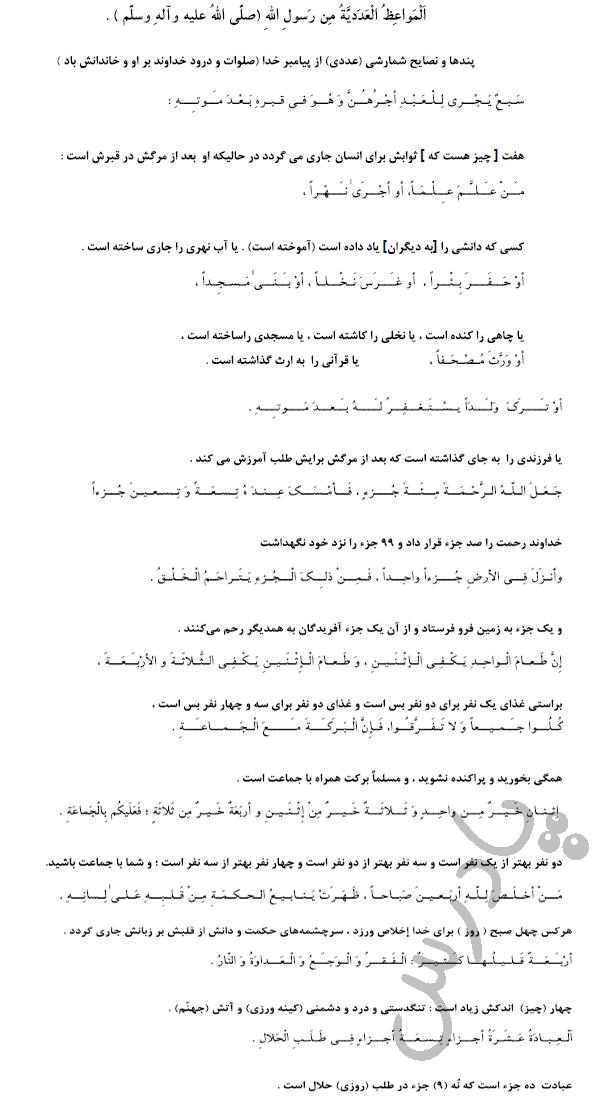 ترجمه درس2 عربی دهم