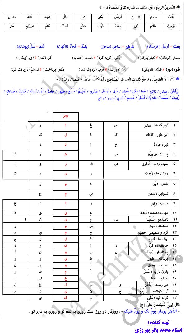 حل تمرین 8تا 10 درس 7 عربی دهم