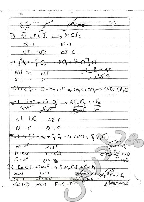 حل تمرین  دوره ای (سوال 1)  فصل دوم  شیمی دهم