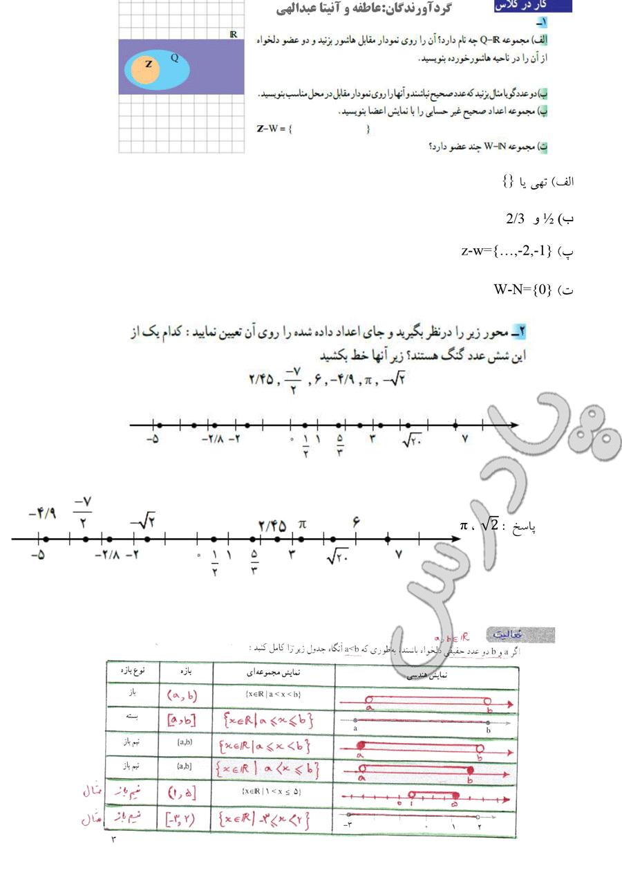 حل کار در کلاس و فعالیت ص 2 و3 ریاضی دهم رشته ریاضی و تجربی
