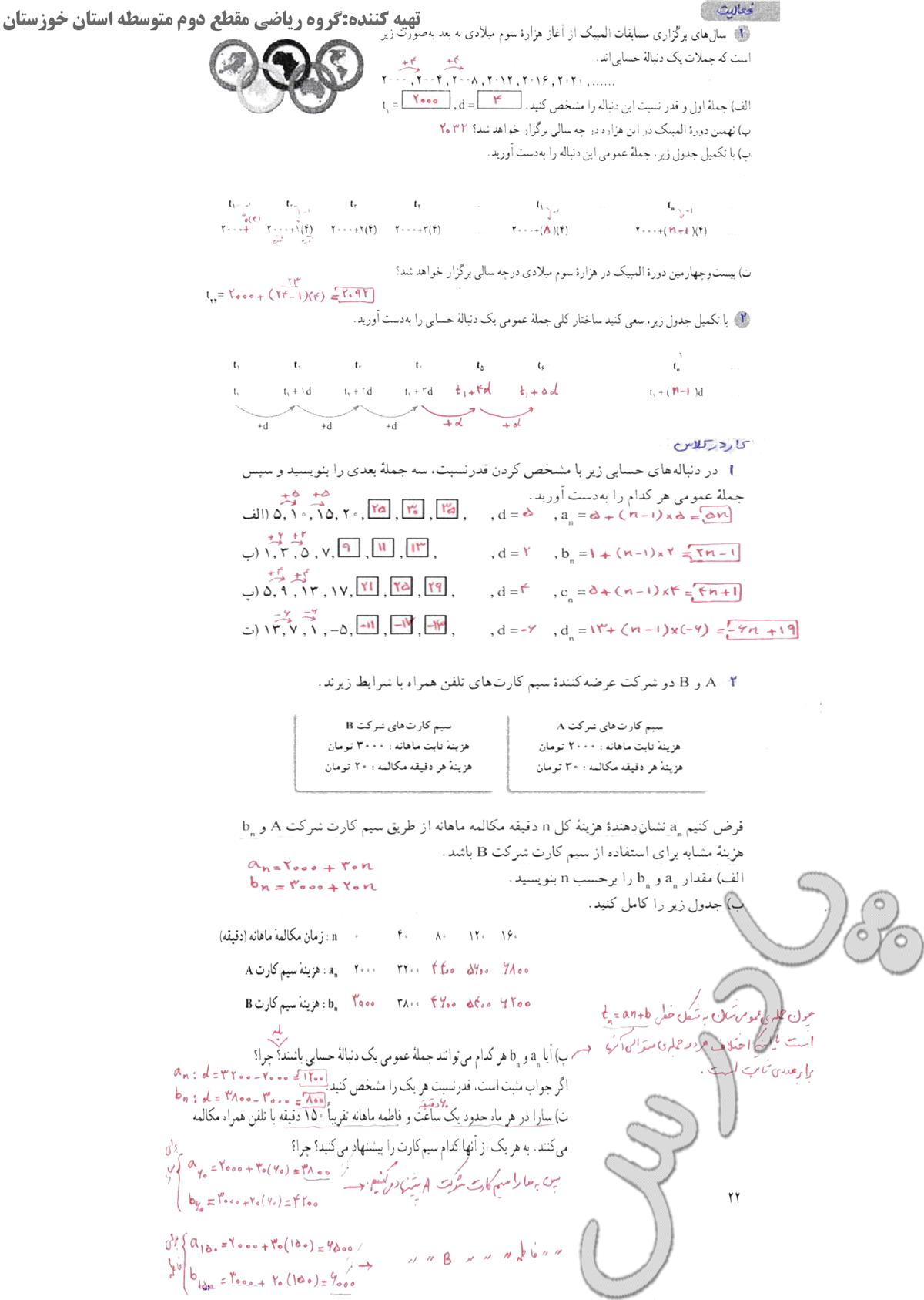 حل فعالیت وکاردر کلاس ص 21 و 22