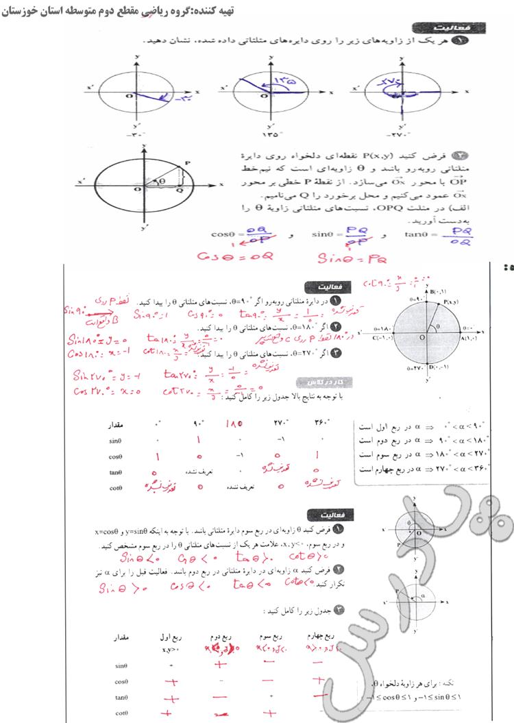 پاسخ فعالیت و کار در کلاس ص 36 تا 38 فصل دوم ریاضی دهم