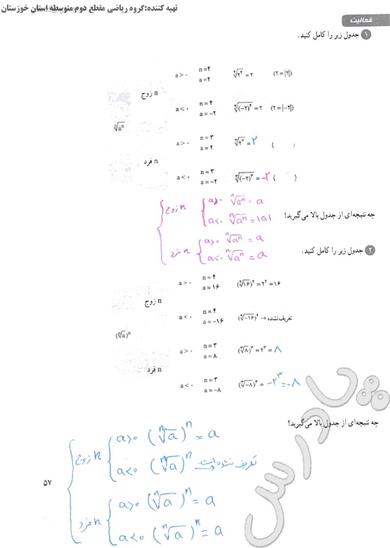 پاسخ فعالیت صفحه 57 فصل سوم ریاضی دهم