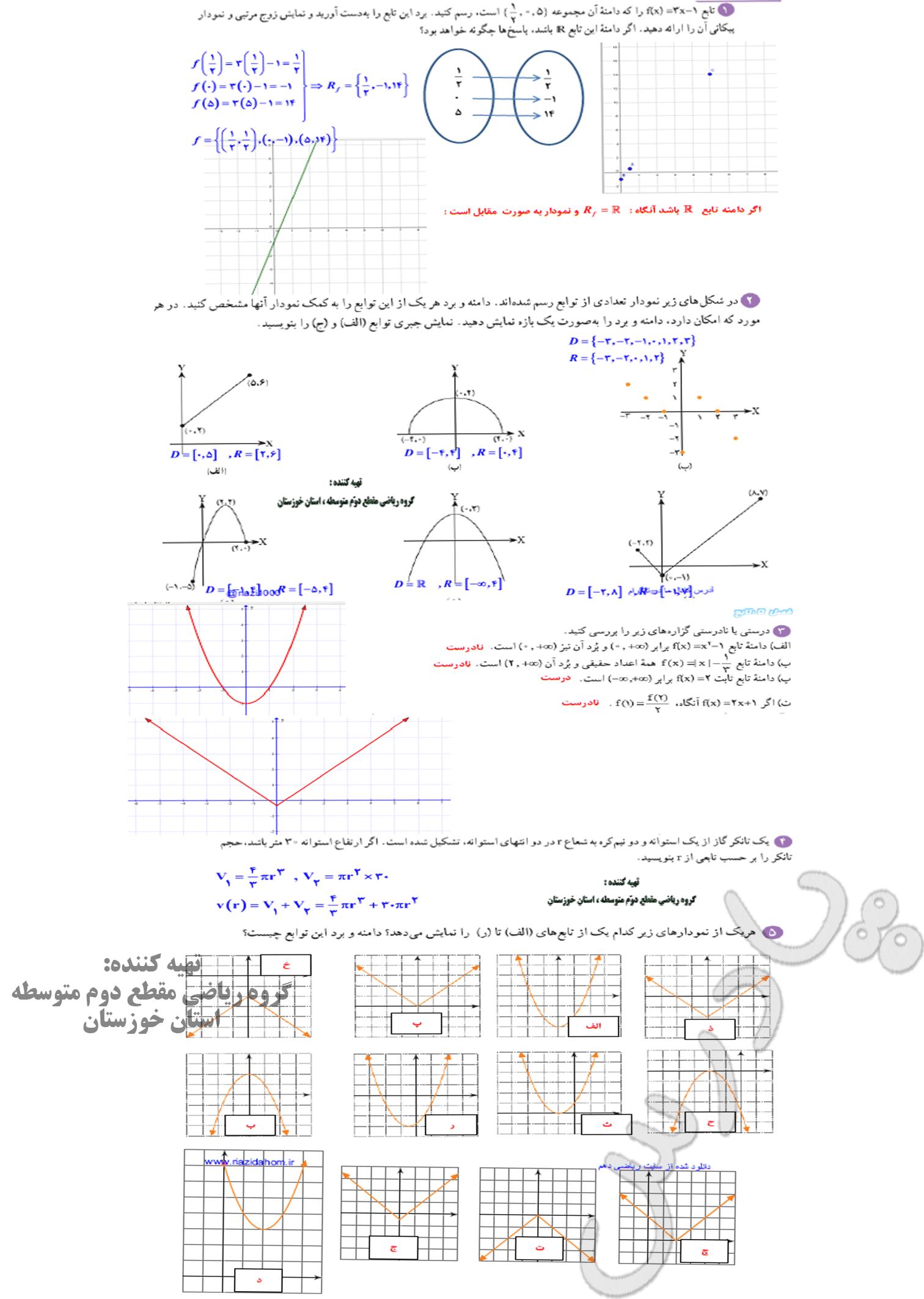 حل تمرین صفحه 115 ریاضی دهم