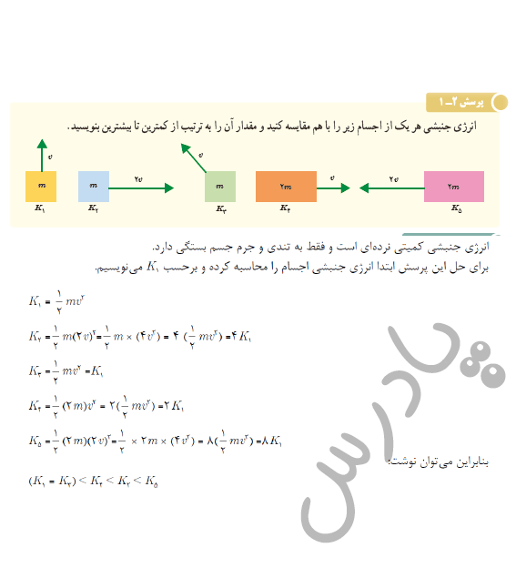 جواب پرسش 1 فصل2 فیزیک دهم