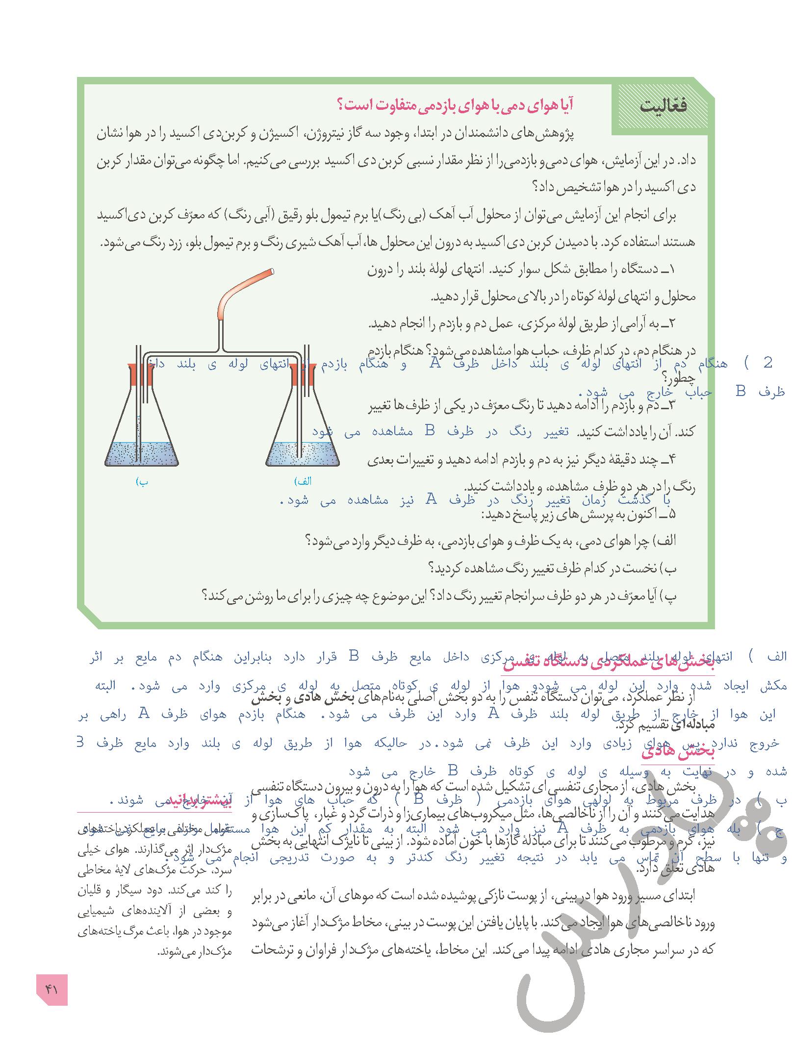 جواب فعالیت صفحه 41 زیست دهم