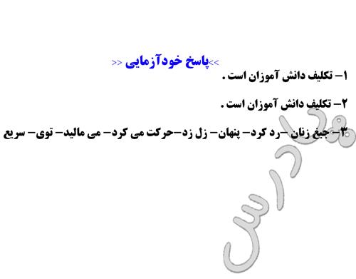 جواب خودآزمایی درس 14 زبان فارسی 3