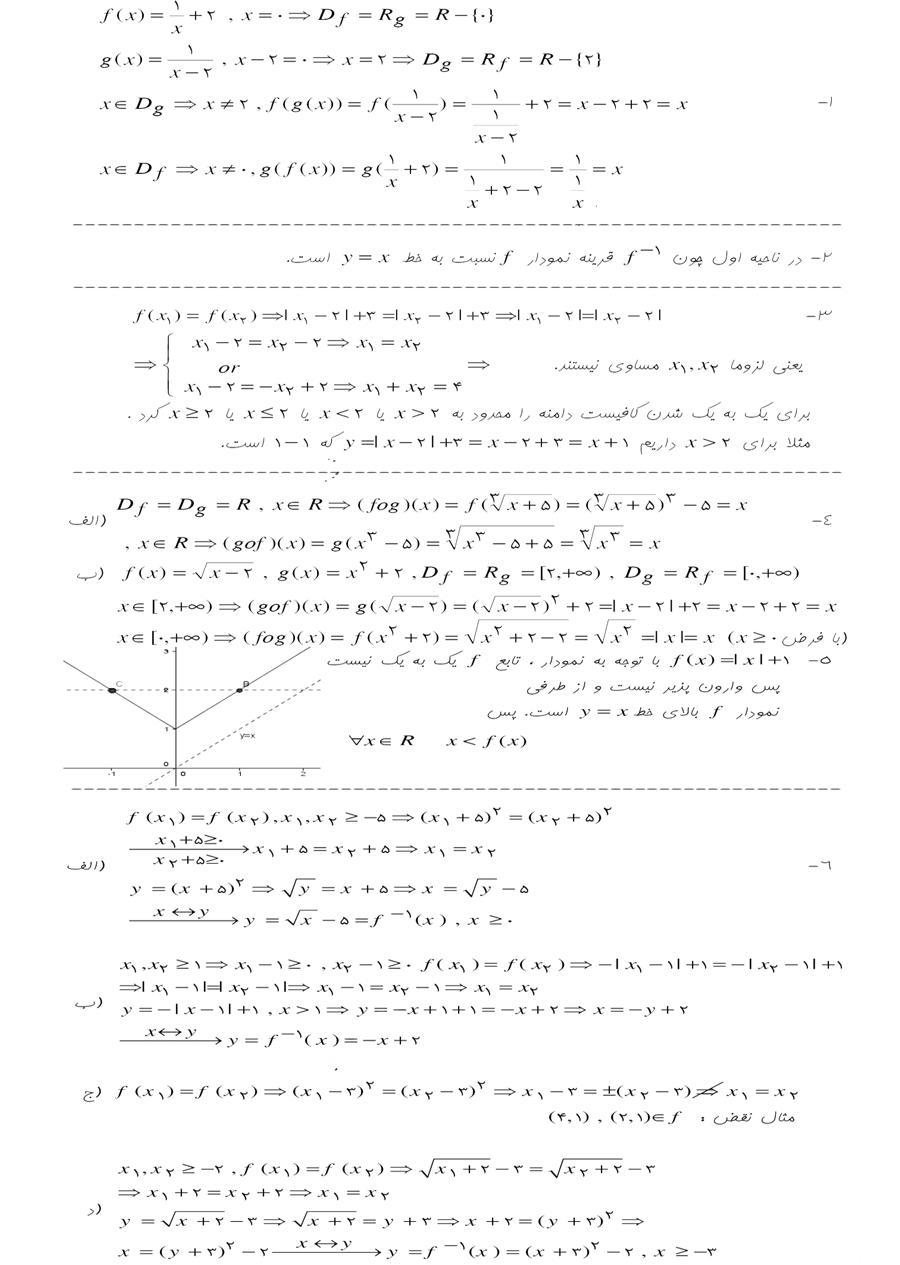 حل مسائل صفحه 94 فصل دوم حسابان سال سوم