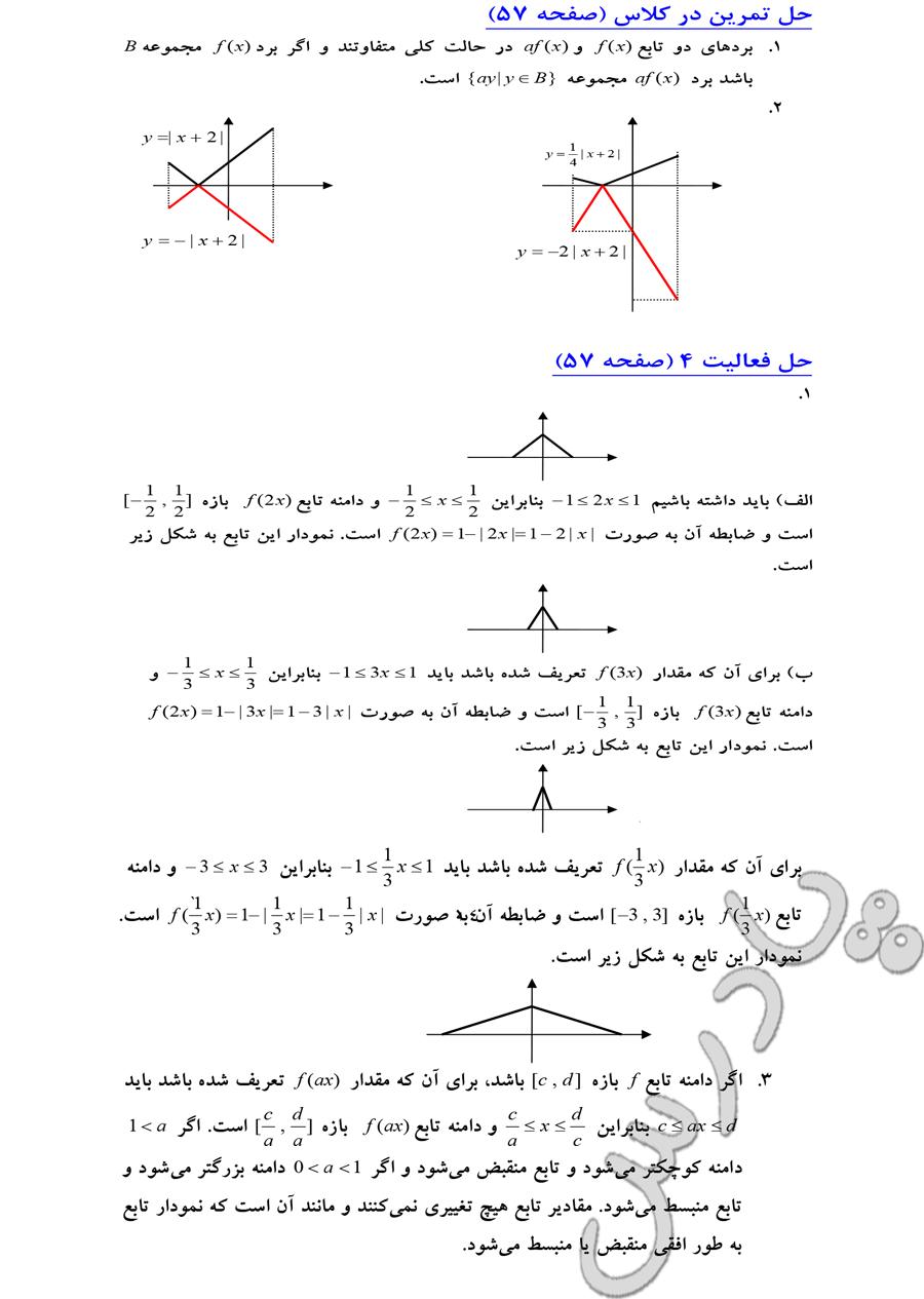 حل سوالات صفحه 57 فصل دوم حسابان سال سوم