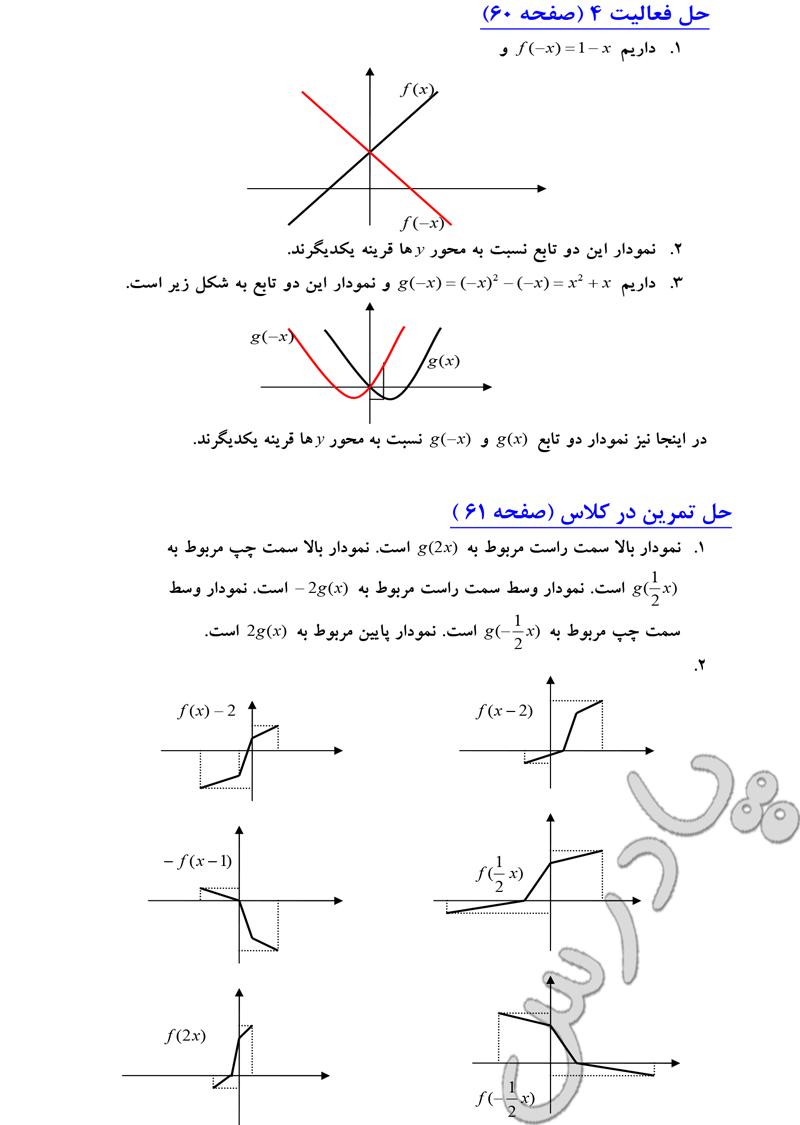 جواب سوالات صفحه 60 و 61 فصل دوم حسابان سال سوم