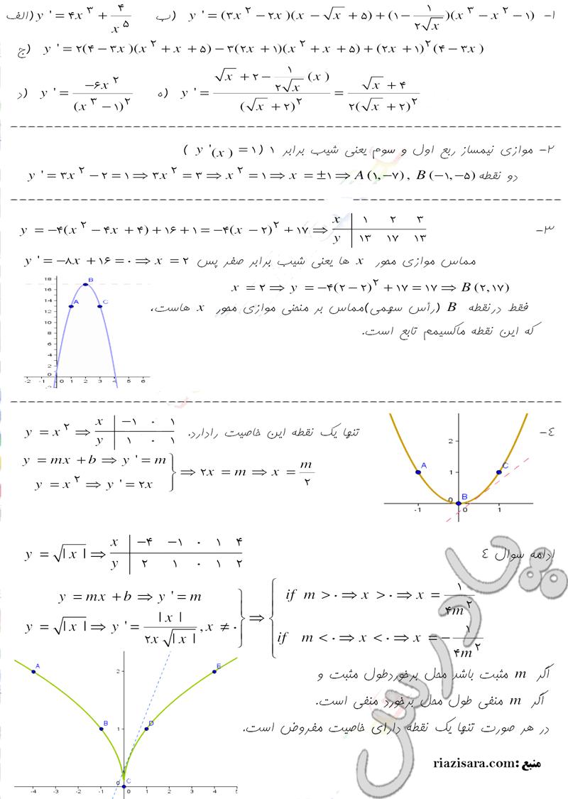 حل مسائل صفحه 174 حسابان