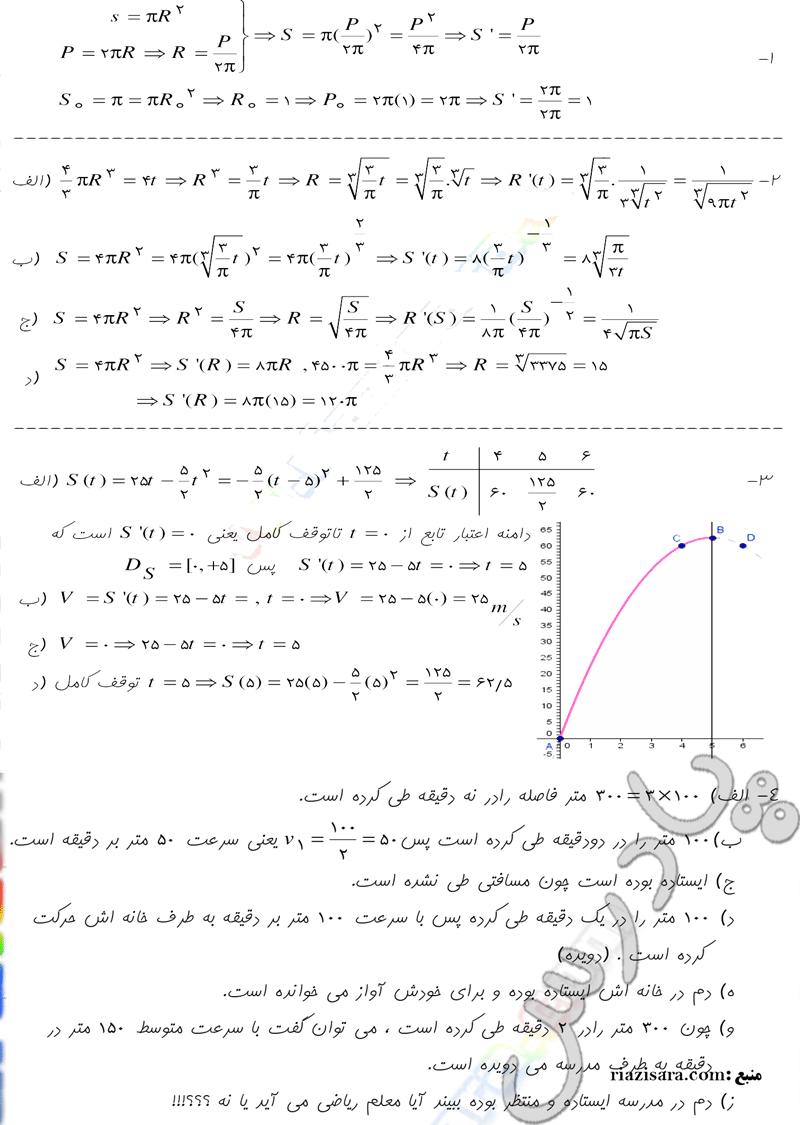 حل مسایل صفحه 181 حسابان