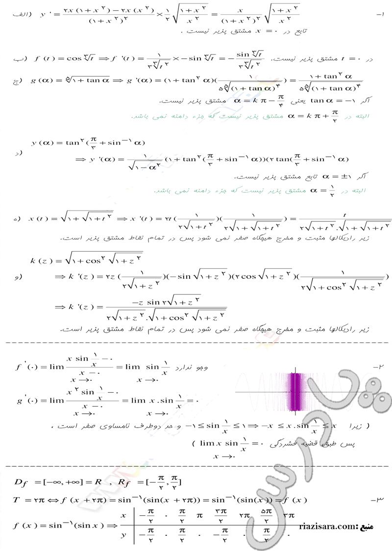 حل مسائل صفحه 189 حسابان