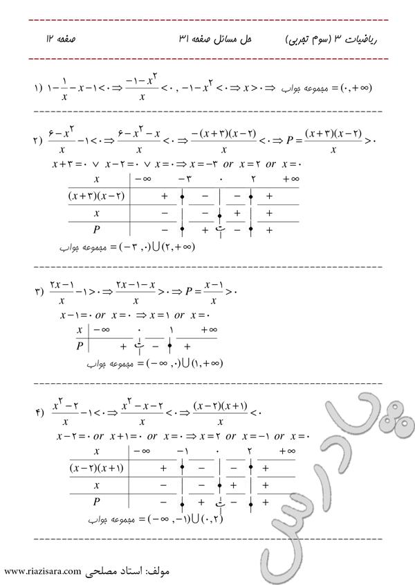 حل تمرین 1 تا 4 صفحه 31 فصل 2 ریاضی سوم تجربی