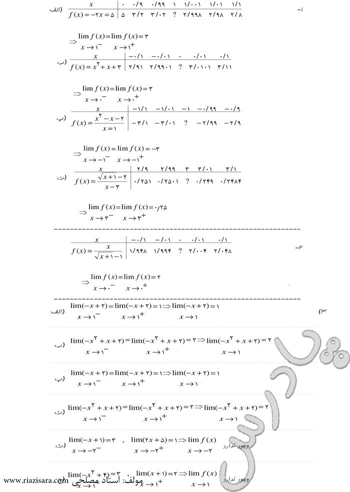 حل تمرین صفحه 73 ریاضی 3 تجربی