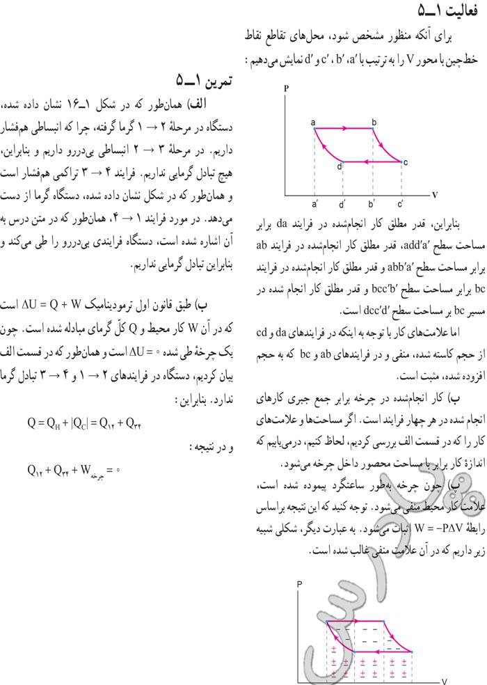 پاسخ فعالیت و تمرین 5 فصل اول فیزیک 3 ریاضی