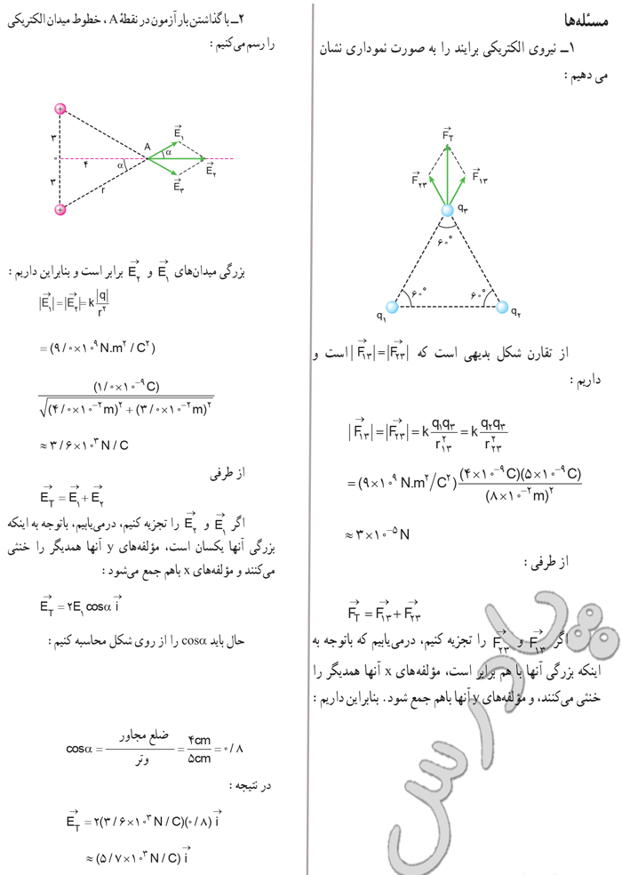 حل مسائل 1 و2 آخر فصل دوم فیزیک 3