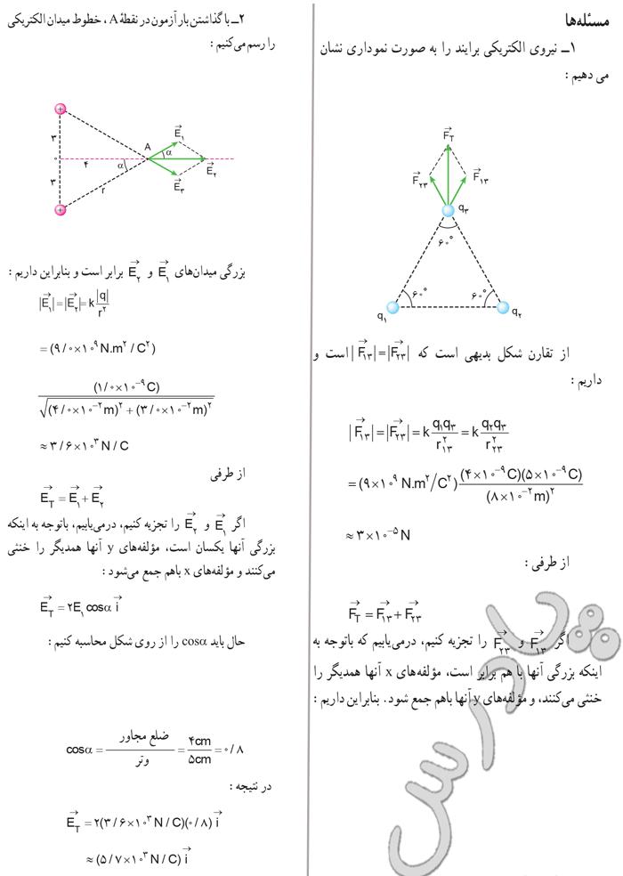 حل مسائل 1 و2 آخر فصل اول فیزیک 3 تجربی
