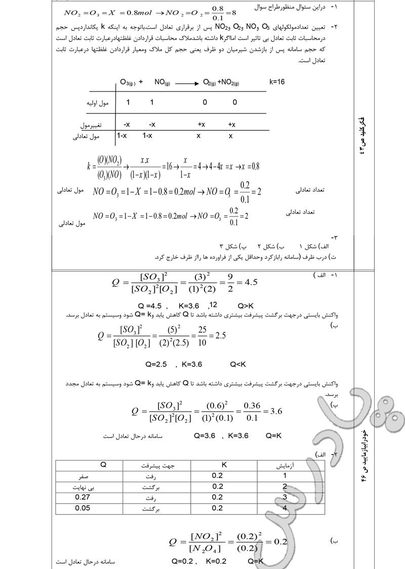 جواب سوالات صفحه 43 و 46 شیمی پیش دانشگاهی