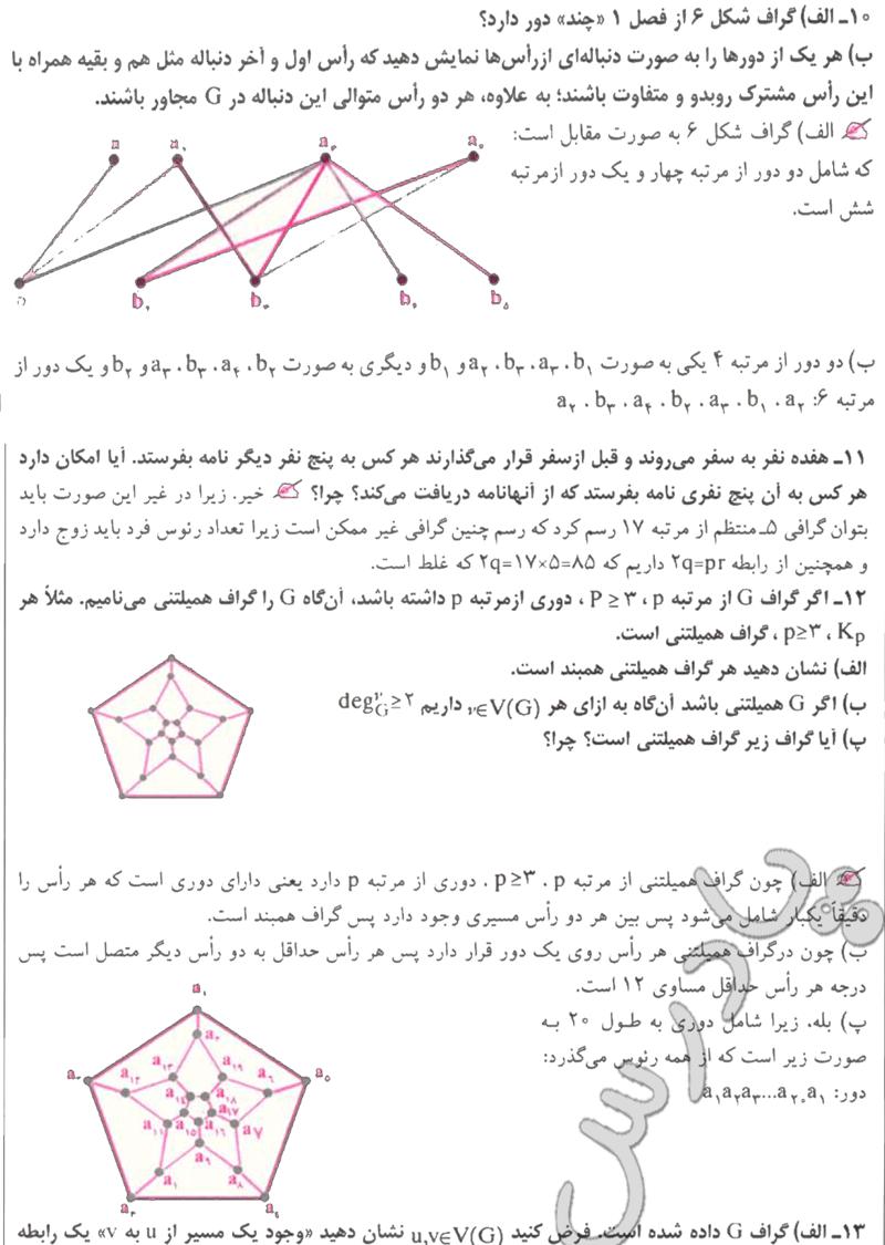 حل تمرین های 10 تا 12 آخر فصل 2 ریاضی گسسته پیش دانشگاهی