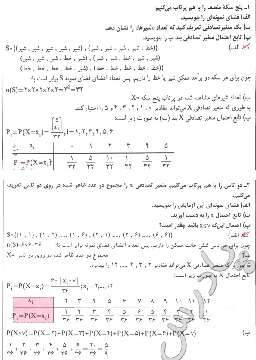 حل تمرین های 1 و 2 آخر فصل 9 ریاضیات گسسته پیش دانشگاهی