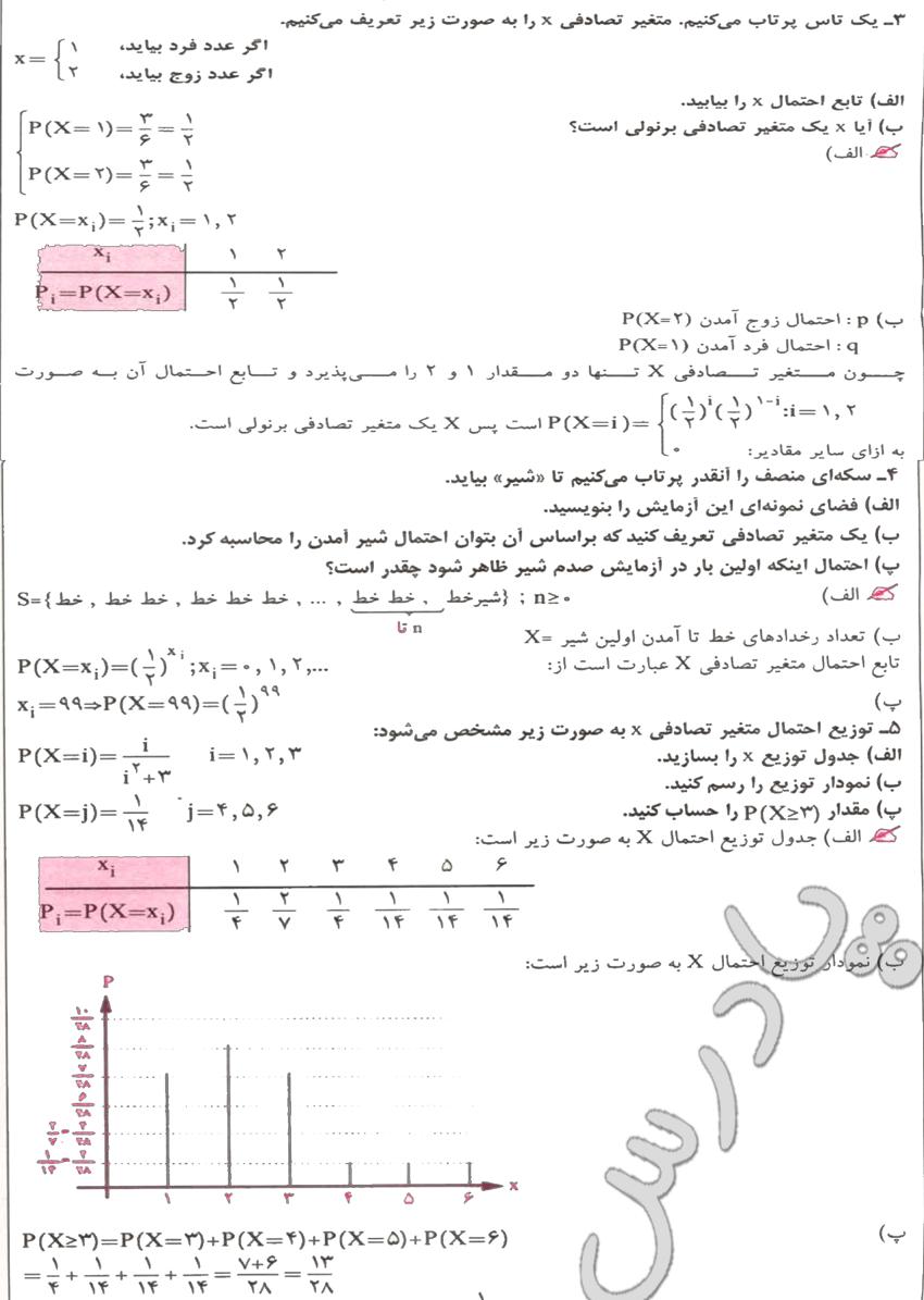 حل تمرین های 3 تا 5  آخر فصل 9 ریاضیات گسسته پیش دانشگاهی