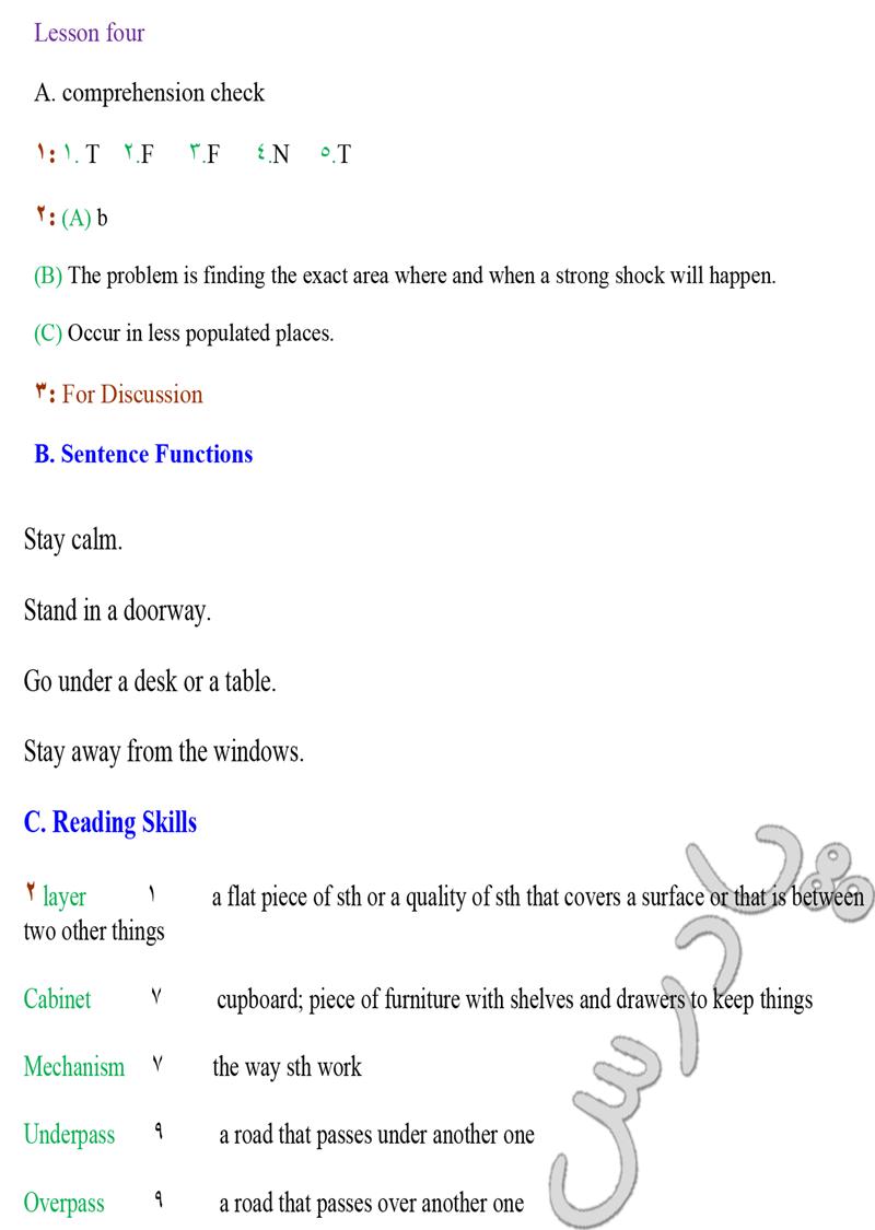 حل تمرین درس  4 زبان انگلیسی پیش دانشگاهی
