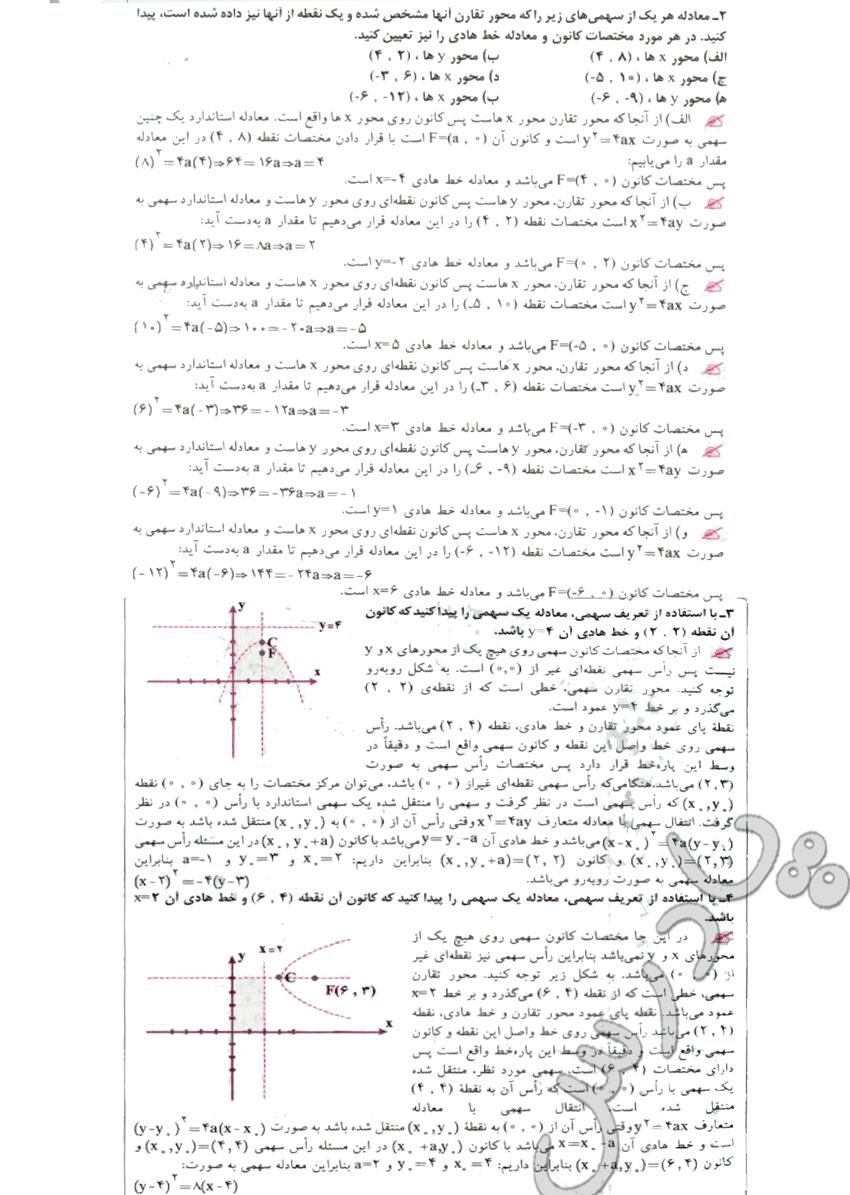 ادامه حل تمرین صفحه 70 هندسه تحلیلی پیش دانشگاهی