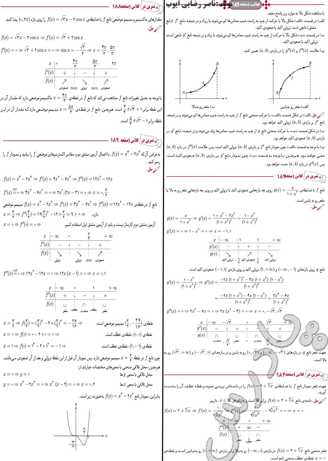 حل سوالات صفحه 181 تا 189 دیفرانسیل پیش دانشگاهی