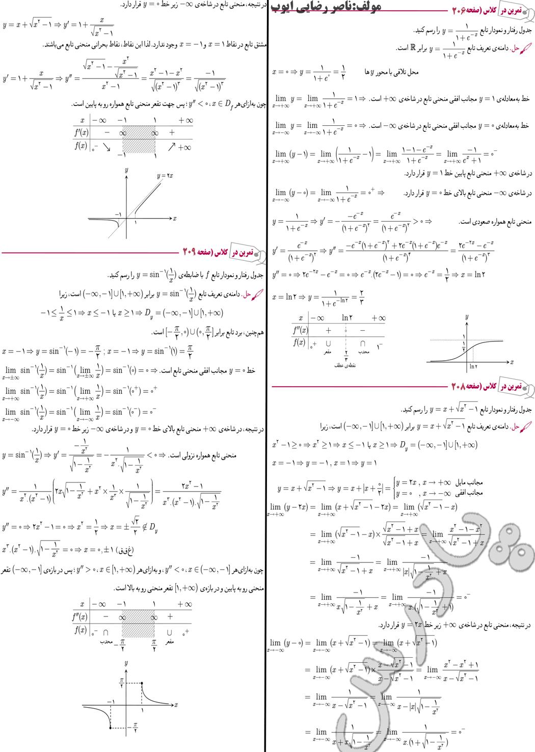 حل تمرین در کلاس صفحه 206 تا 209 دیفرانسیل پیش دانشگاهی