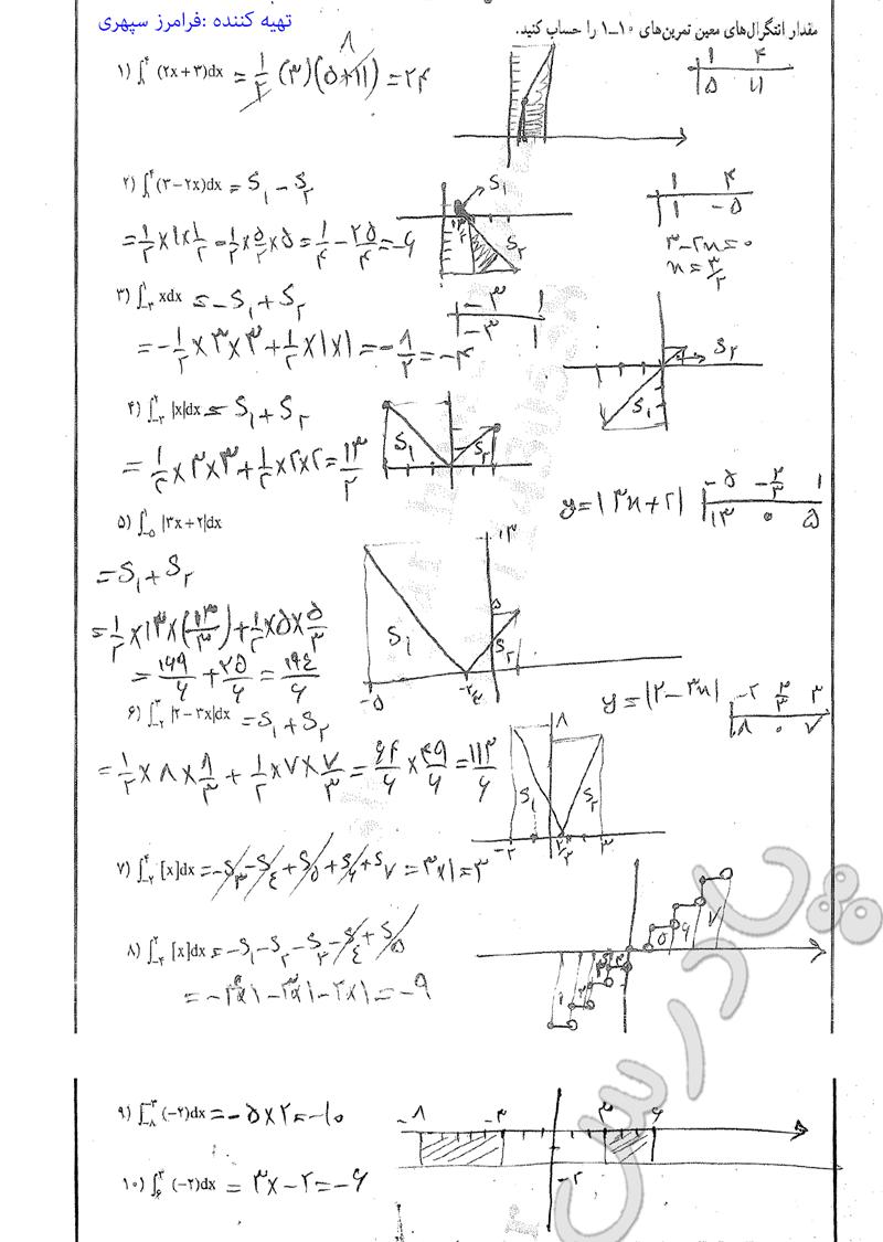حل مسائل صفحه 159 ریاضی عمومی تجربی