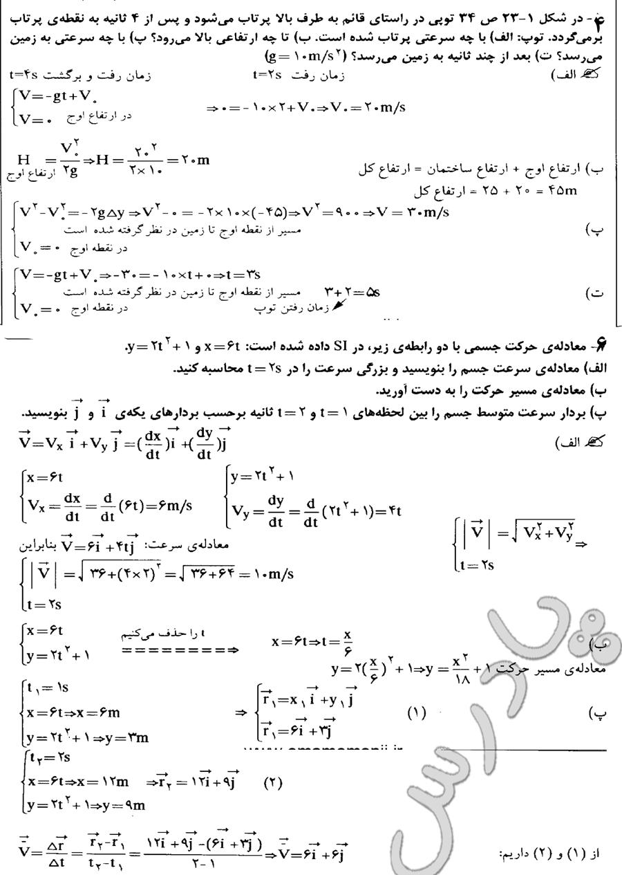 جواب تمرینات 4تا 6 آخر فصل فیزیک پیش دانشگاهی رشته ریاضی