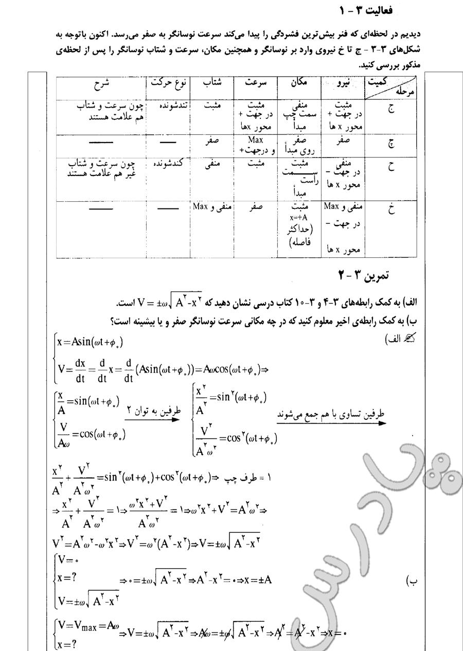 حل تمرین 2 و فعالیت 1 فصل 3 فیزیک پیش دانشگاهی ریاضی