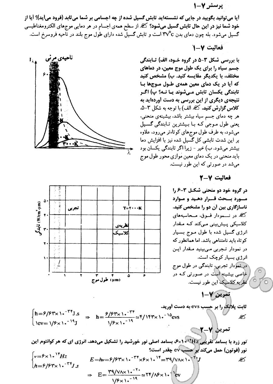 حل فعالیت 1و2 ، فعالیت 1و2 ، پرسش1 فصل 7 فیزیک پیش دانشگاهی ریاضی