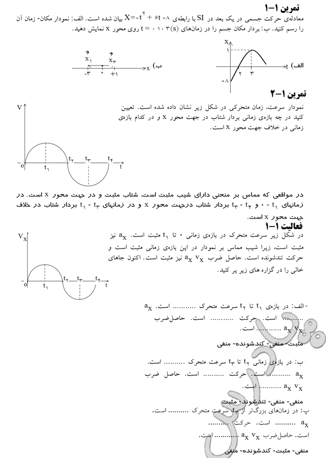 حل تمرین 1 و 2 و فعالیت 1 فصل اول فیزیک پیش تجربی