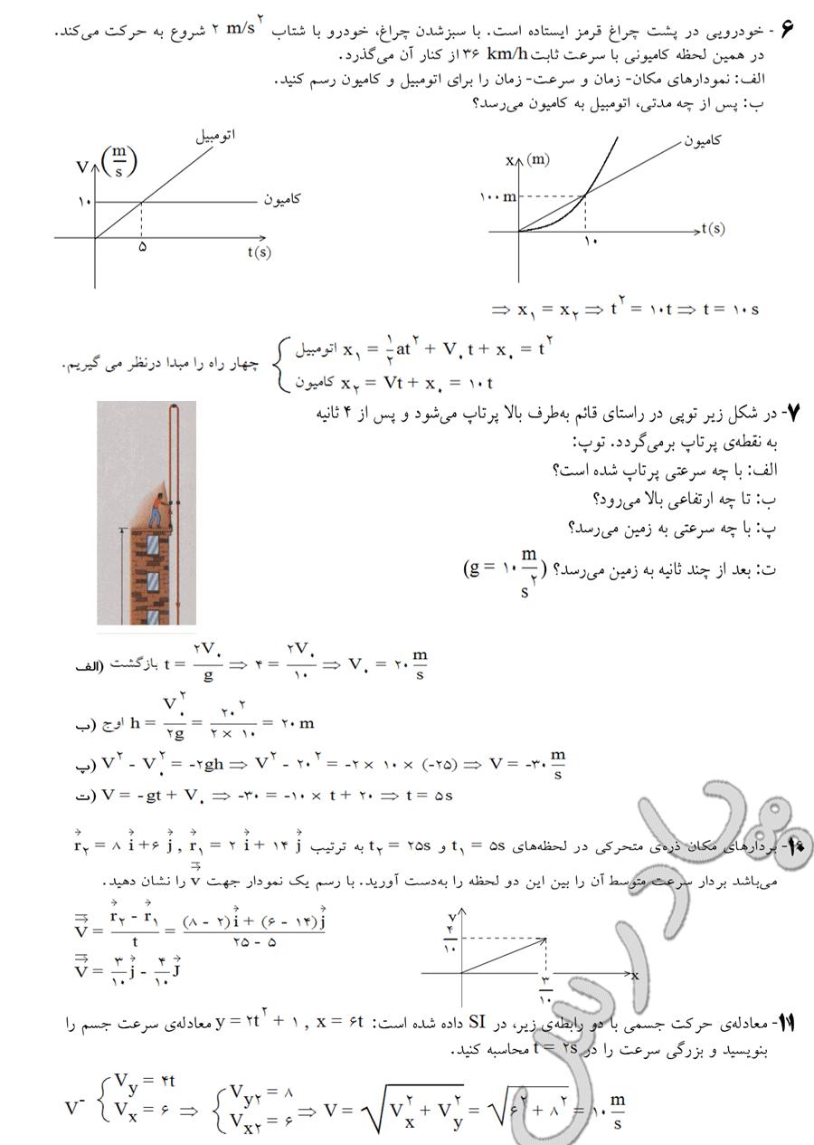 جواب تمرینات  6 تا 11 آخر فصل فیزیک پیش دانشگاهی رشته ریاضی