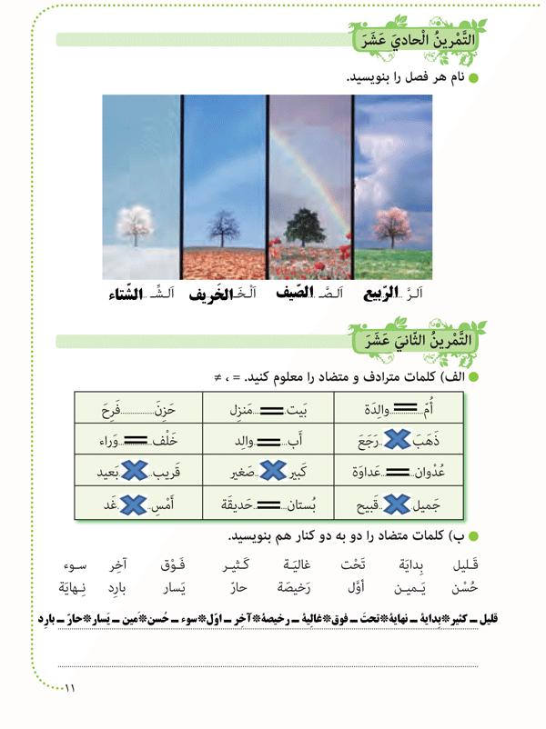 پاسخ تمرینهای صفحه 11 عربی هشتم