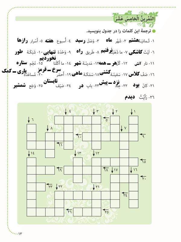 جواب تمرین های صفحه 13 عربی هشتم