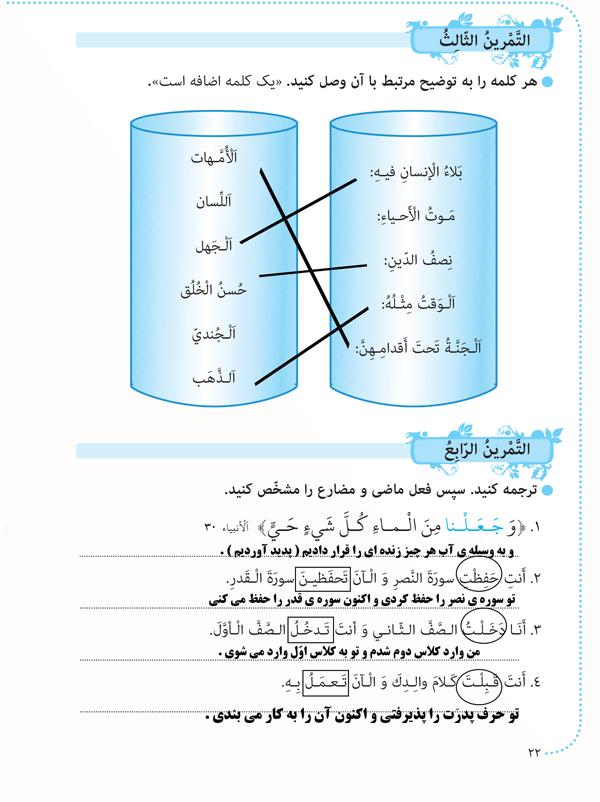 جواب تمرینهای 3 و4 درس2 عربی هشتم