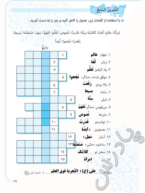 پاسخ تمرین 7  درس2 عربی هشتم