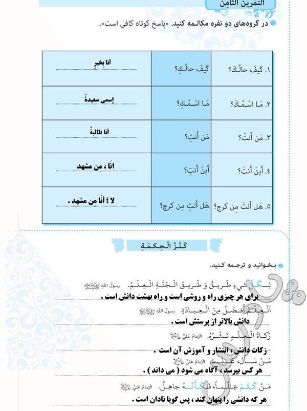 پاسخ تمرین 8 و ترجمه کَنْزُ الْحِکمَةِ دزس 6عربی هشتم