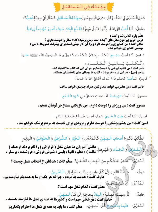 ترجمه درس 3 عربی هشتم