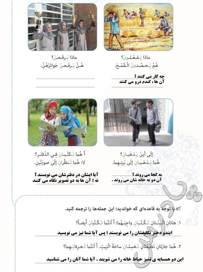 معنی بخش فی الترجمه درس 8 عربی هشتم