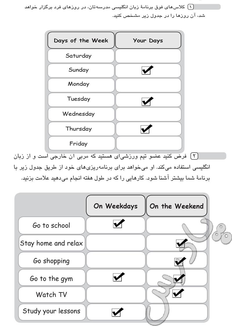 حل تمرین 1  و 2 درس 2 زبان هشتم