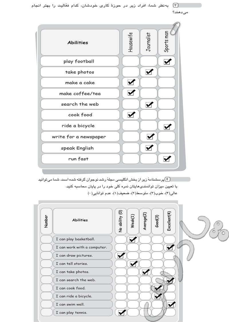 حل تمرین 3و4  درس 3 زبان هشتم