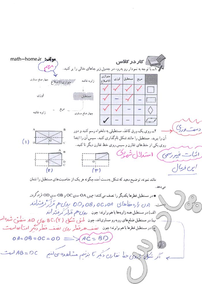 حل کار در کلاس صفحه 40 ریاضی هشتم